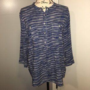 JC Penney Popover Blouse Blue & White Pattern L